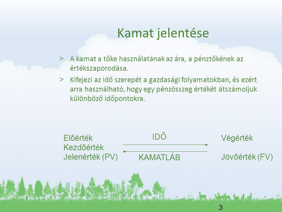 Kamat jelentése A kamat a tőke használatának az ára, a pénztőkének az értékszaporodása.