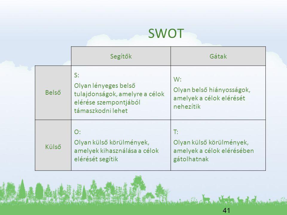 SWOT Segítők Gátak Belső S: