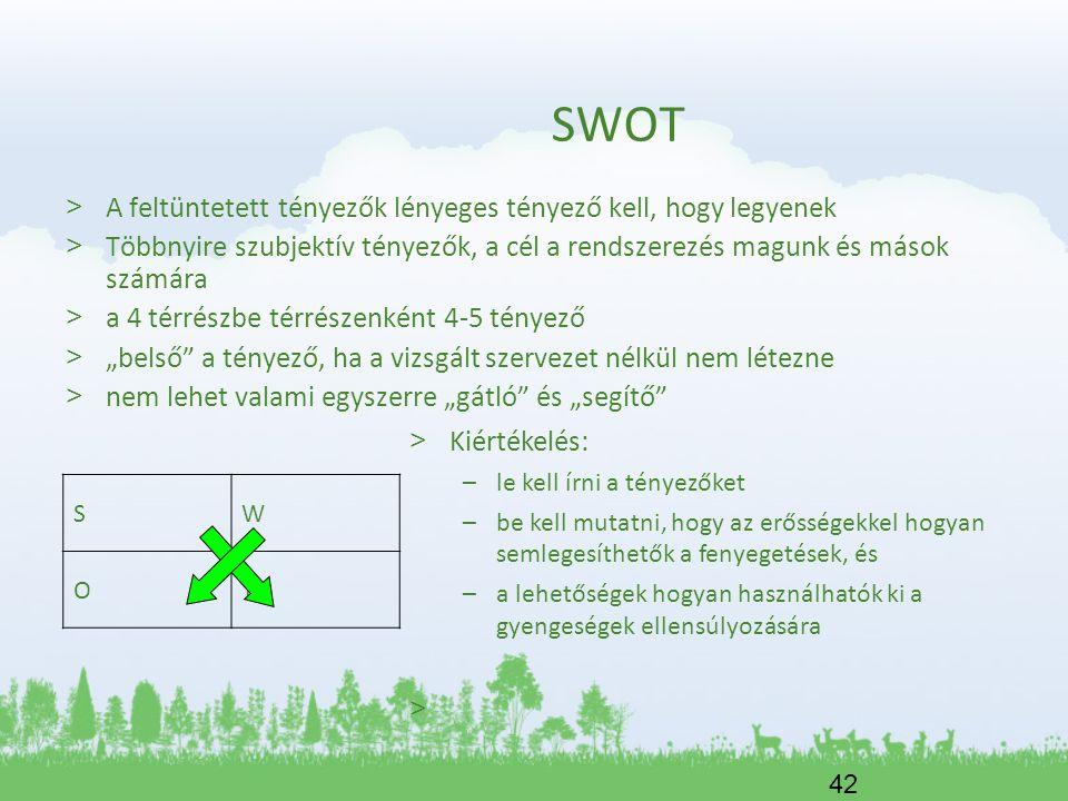 SWOT A feltüntetett tényezők lényeges tényező kell, hogy legyenek
