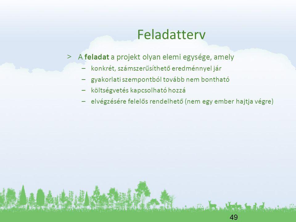 Feladatterv A feladat a projekt olyan elemi egysége, amely