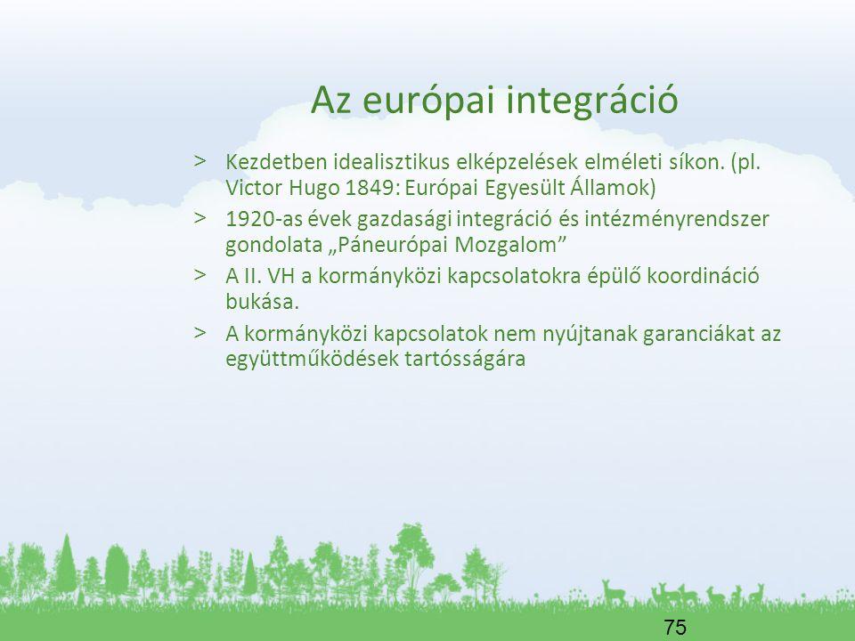 Az európai integráció Kezdetben idealisztikus elképzelések elméleti síkon. (pl. Victor Hugo 1849: Európai Egyesült Államok)