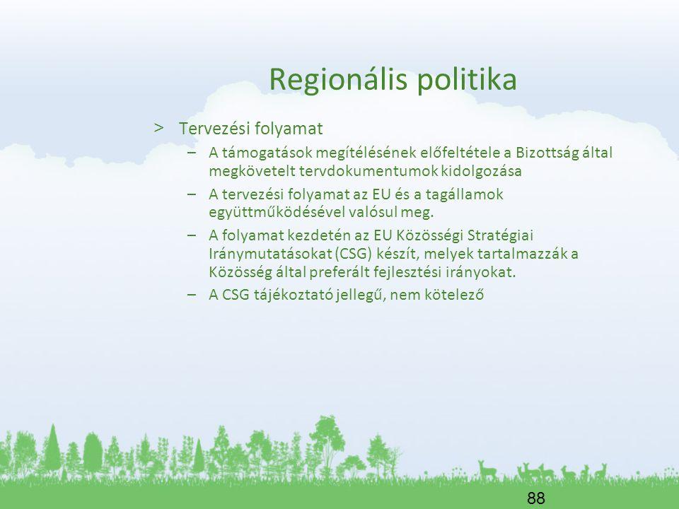 Regionális politika Tervezési folyamat