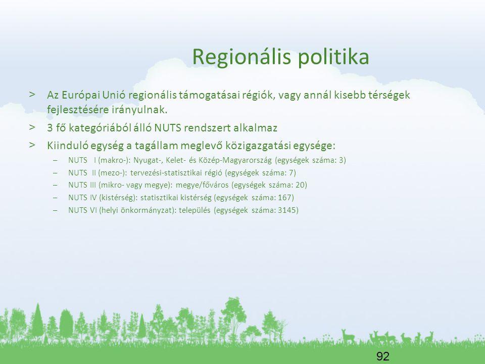 Regionális politika Az Európai Unió regionális támogatásai régiók, vagy annál kisebb térségek fejlesztésére irányulnak.