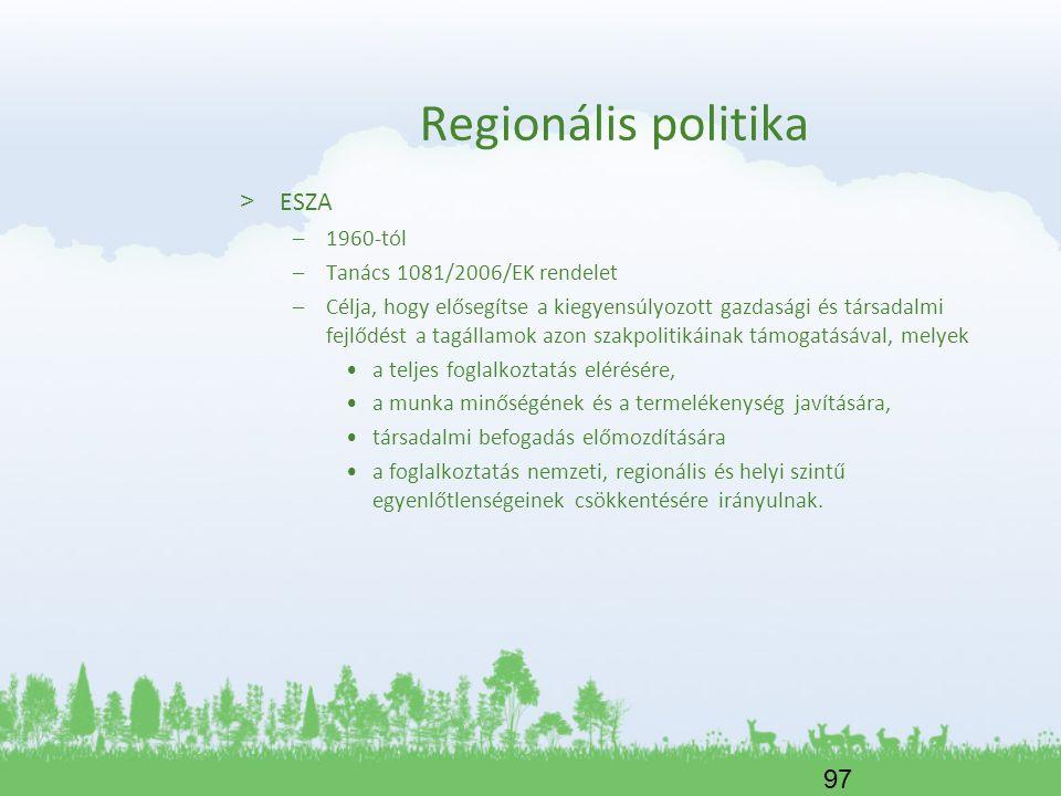 Regionális politika ESZA 1960-tól Tanács 1081/2006/EK rendelet