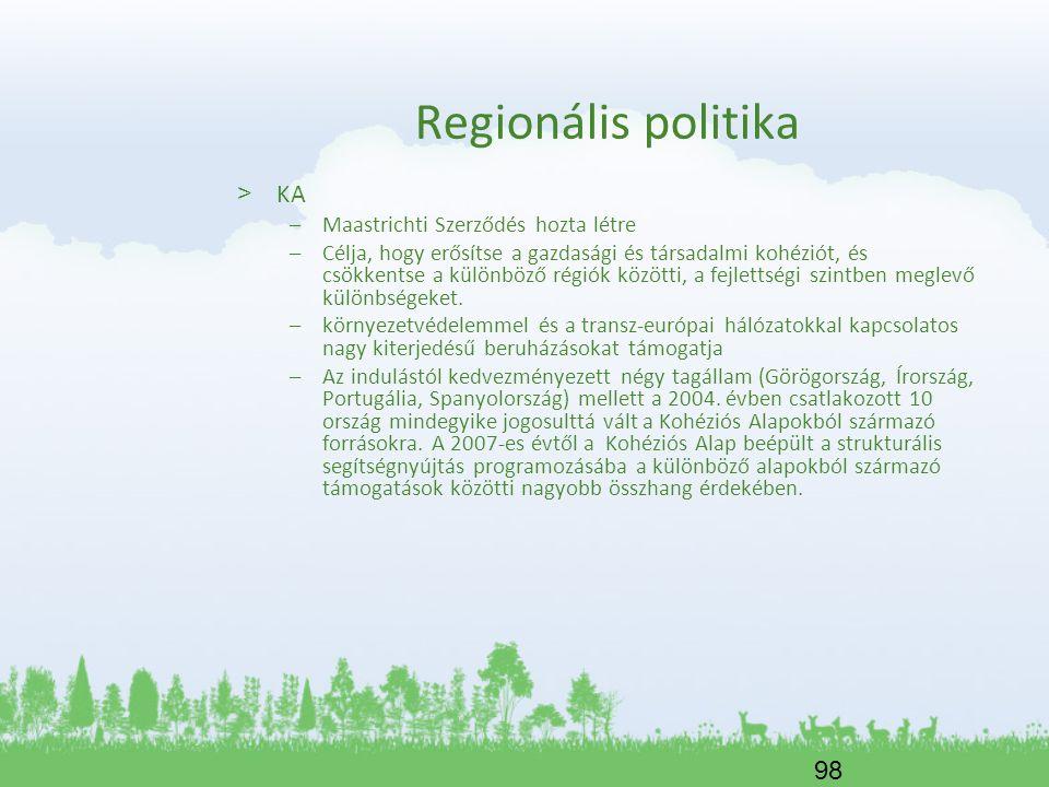 Regionális politika KA Maastrichti Szerződés hozta létre