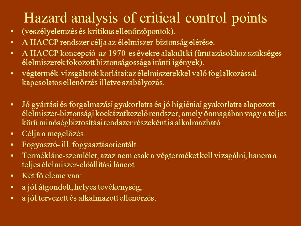 Hazard analysis of critical control points