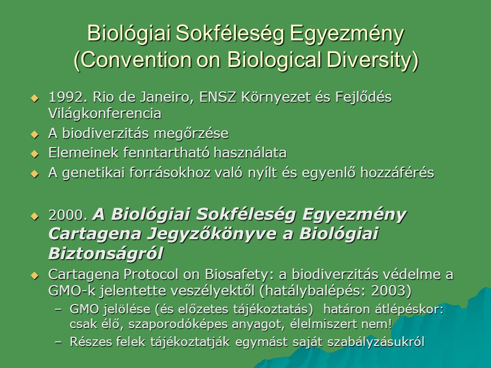Biológiai Sokféleség Egyezmény (Convention on Biological Diversity)