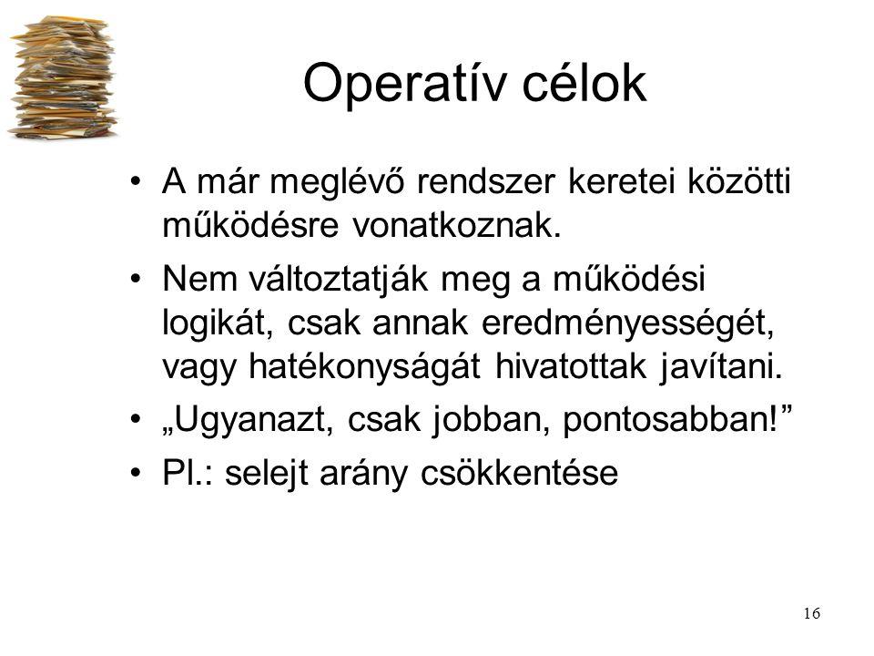 Operatív célok A már meglévő rendszer keretei közötti működésre vonatkoznak.