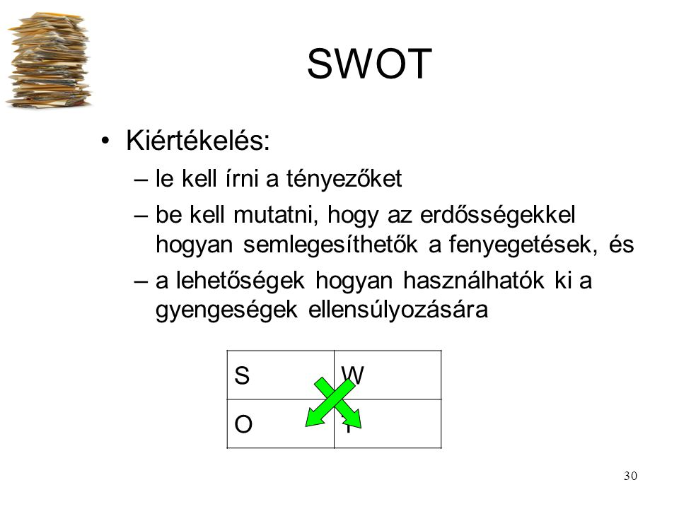 SWOT Kiértékelés: le kell írni a tényezőket