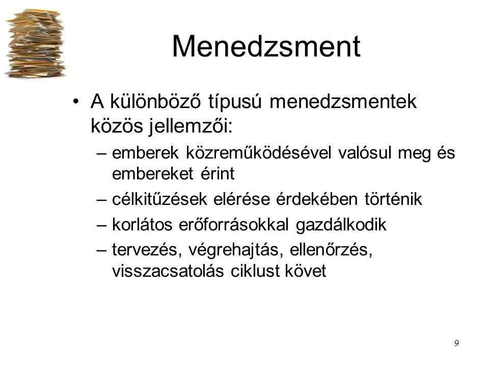 Menedzsment A különböző típusú menedzsmentek közös jellemzői: