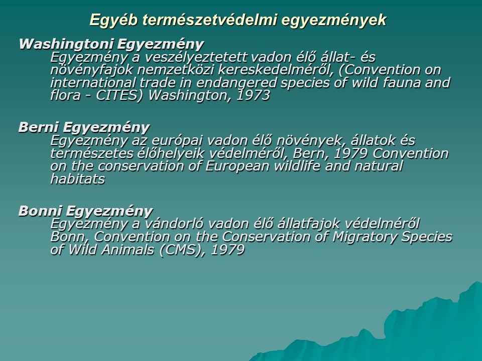 Egyéb természetvédelmi egyezmények