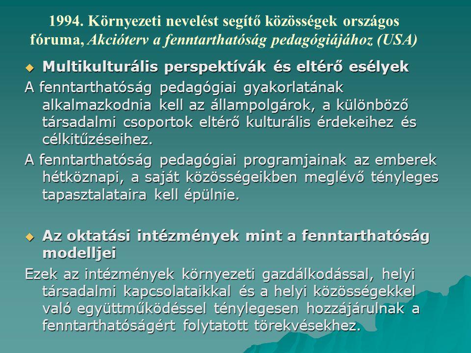 1994. Környezeti nevelést segítő közösségek országos fóruma, Akcióterv a fenntarthatóság pedagógiájához (USA)