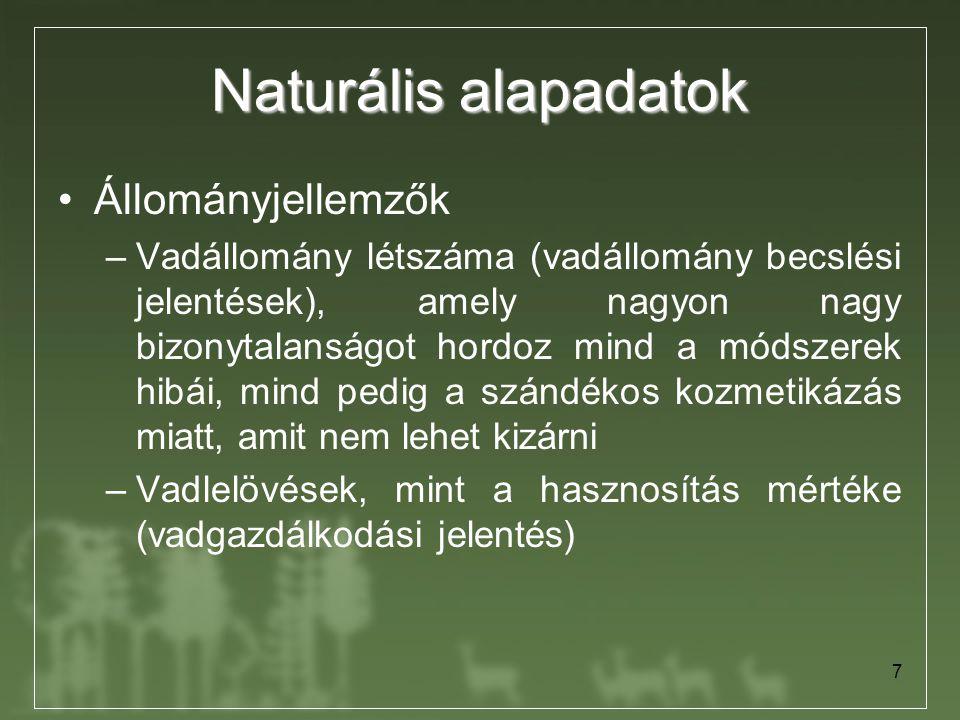 Naturális alapadatok Állományjellemzők