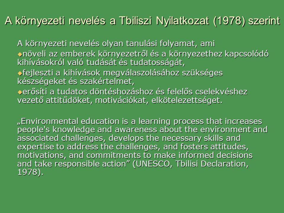 A környezeti nevelés a Tbiliszi Nyilatkozat (1978) szerint