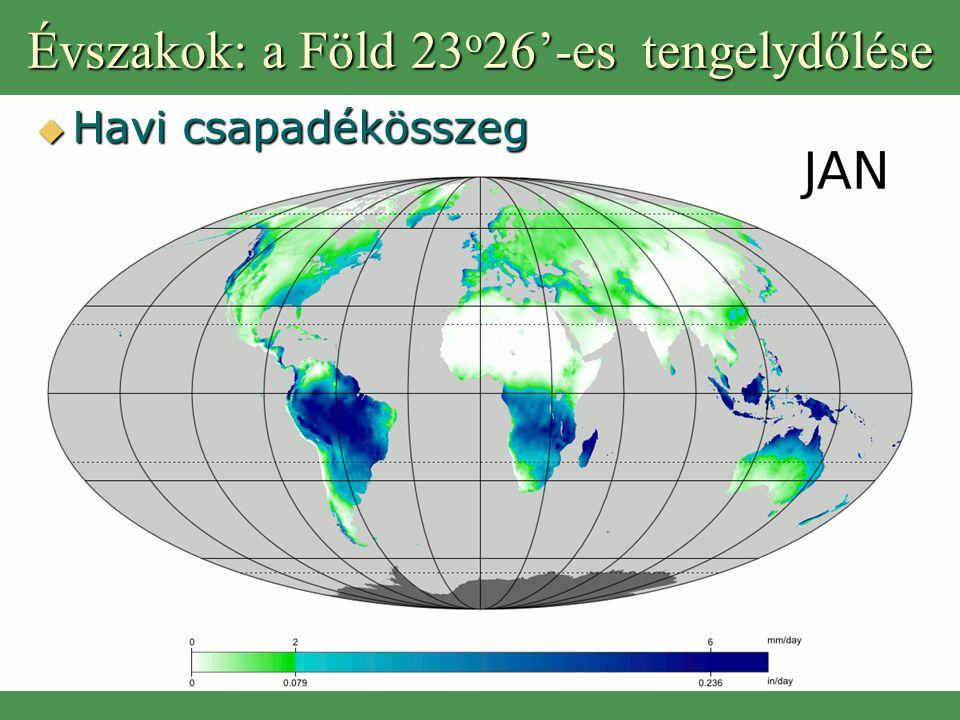 Évszakok: a Föld 23o26'-es tengelydőlése
