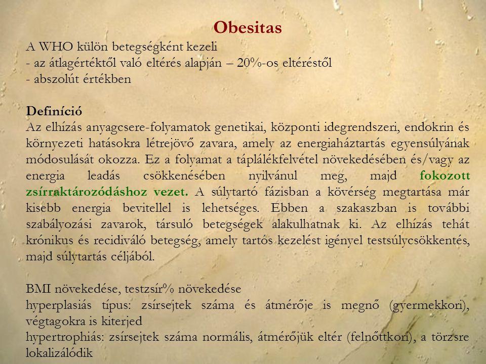Obesitas A WHO külön betegségként kezeli