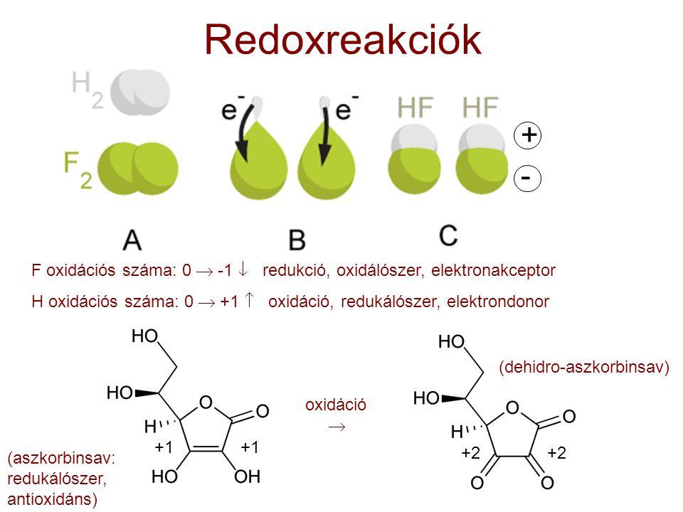 Redoxreakciók + - F oxidációs száma: 0  -1  redukció, oxidálószer, elektronakceptor.