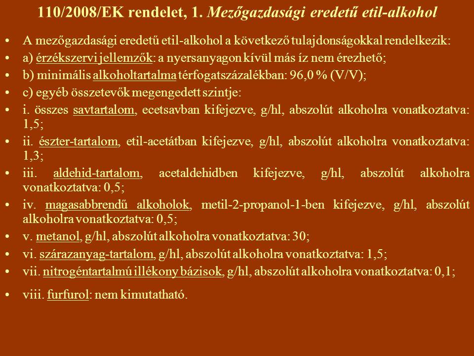 110/2008/EK rendelet, 1. Mezőgazdasági eredetű etil-alkohol