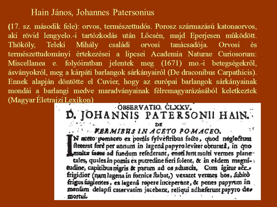 Hain János, Johannes Patersonius