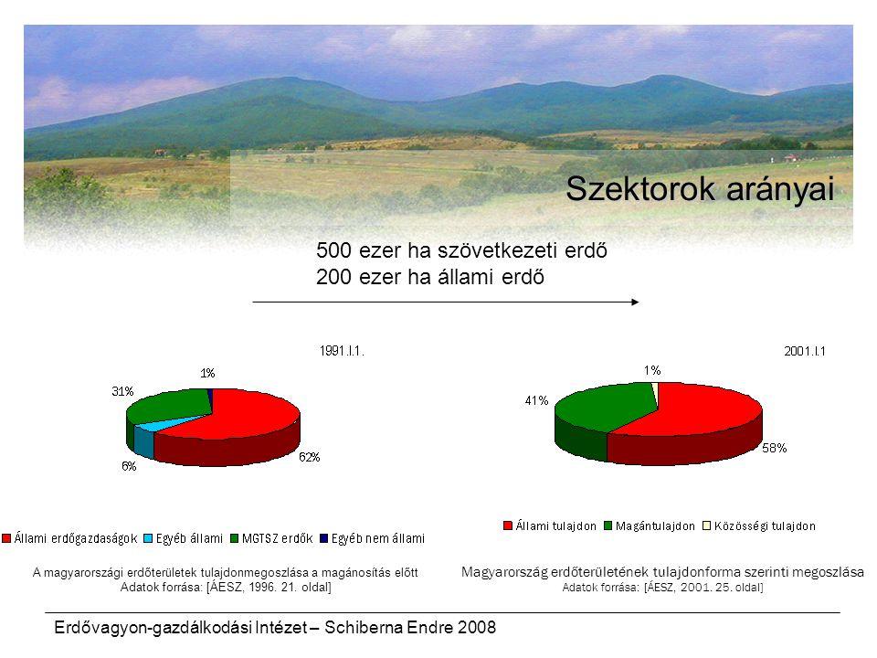 Szektorok arányai 500 ezer ha szövetkezeti erdő