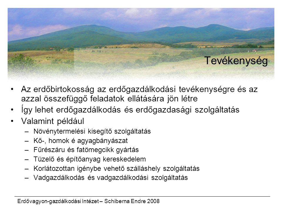 Tevékenység Az erdőbirtokosság az erdőgazdálkodási tevékenységre és az azzal összefüggő feladatok ellátására jön létre.