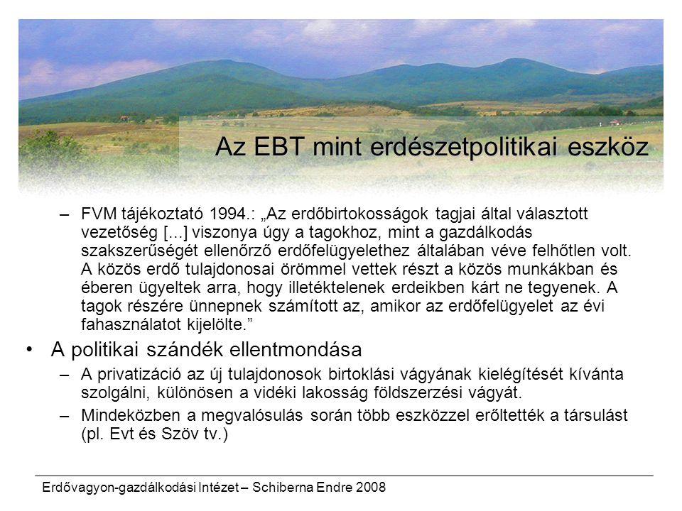 Az EBT mint erdészetpolitikai eszköz