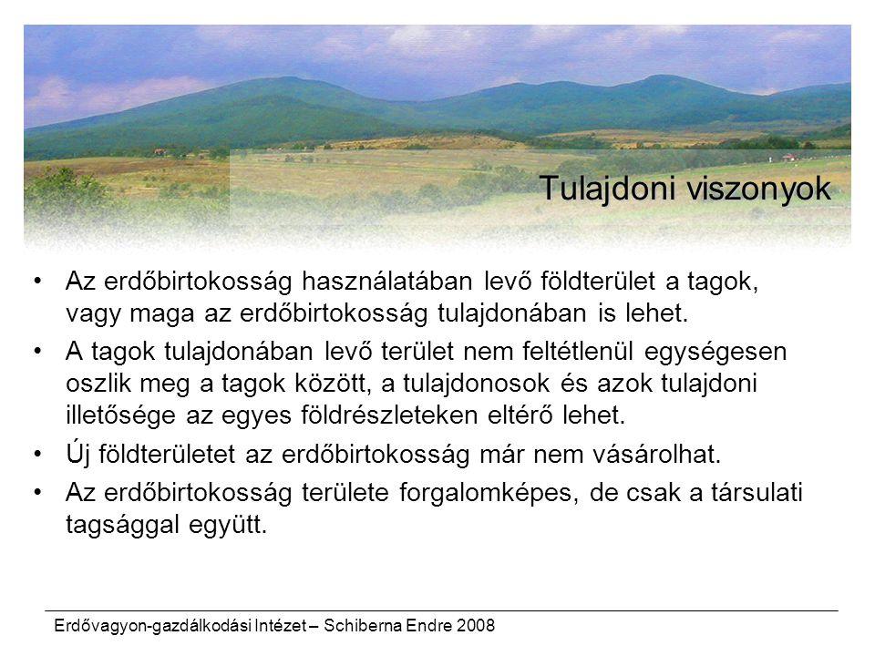 Tulajdoni viszonyok Az erdőbirtokosság használatában levő földterület a tagok, vagy maga az erdőbirtokosság tulajdonában is lehet.