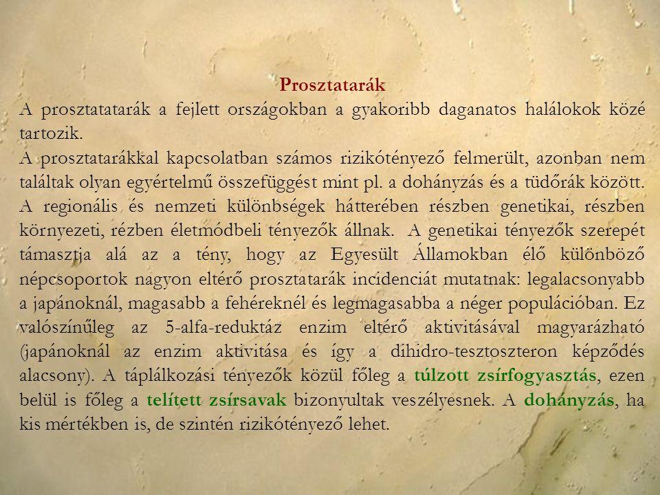 Prosztatarák A prosztatatarák a fejlett országokban a gyakoribb daganatos halálokok közé tartozik.