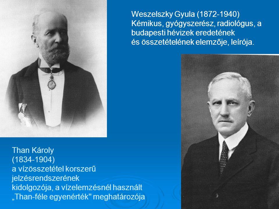 Weszelszky Gyula (1872-1940) Kémikus, gyógyszerész, radiológus, a budapesti hévizek eredetének. és összetételének elemzője, leírója.
