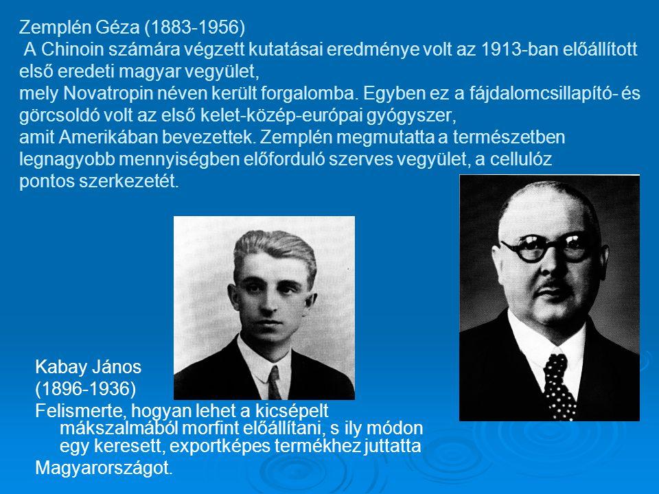 Zemplén Géza (1883-1956) A Chinoin számára végzett kutatásai eredménye volt az 1913-ban előállított első eredeti magyar vegyület, mely Novatropin néven került forgalomba. Egyben ez a fájdalomcsillapító- és görcsoldó volt az első kelet-közép-európai gyógyszer, amit Amerikában bevezettek. Zemplén megmutatta a természetben legnagyobb mennyiségben előforduló szerves vegyület, a cellulóz pontos szerkezetét.
