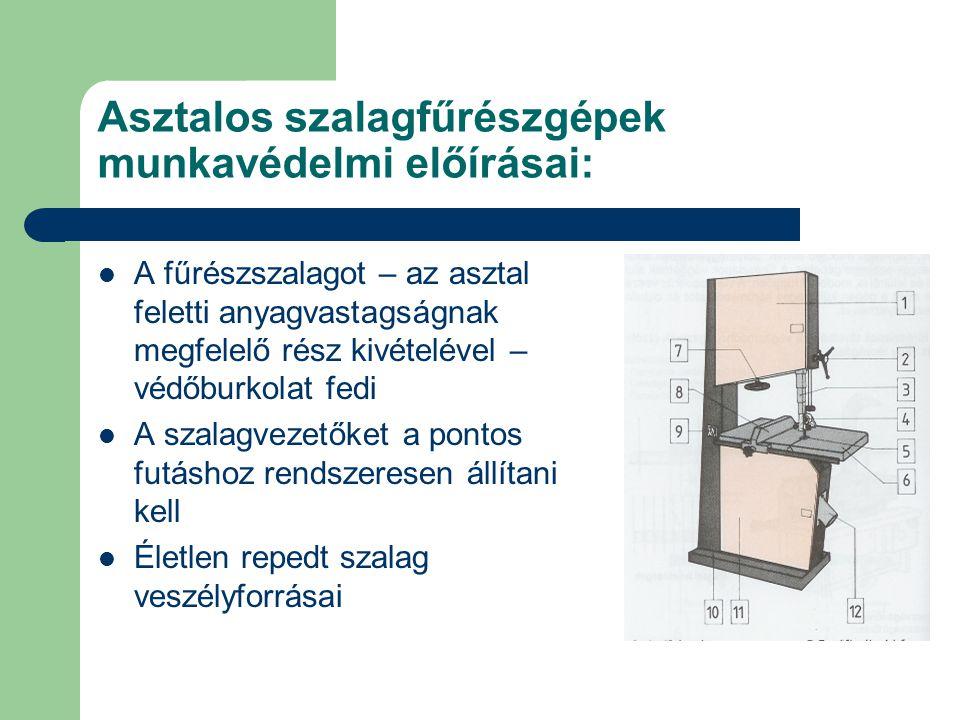 Asztalos szalagfűrészgépek munkavédelmi előírásai: