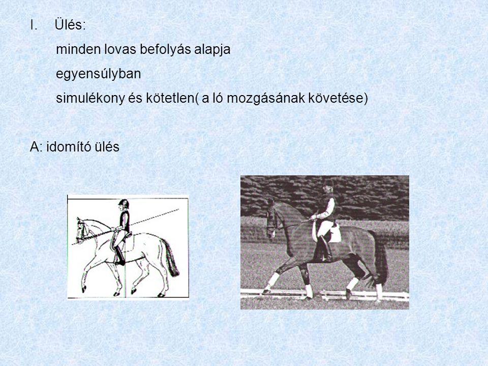 Ülés: minden lovas befolyás alapja. egyensúlyban. simulékony és kötetlen( a ló mozgásának követése)