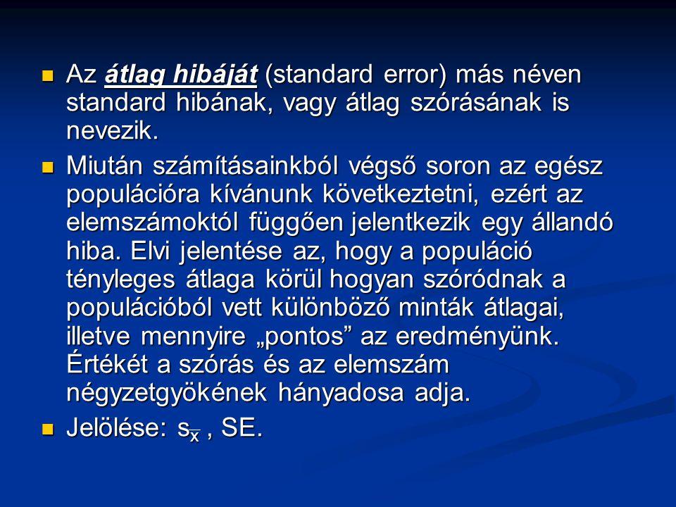Az átlag hibáját (standard error) más néven standard hibának, vagy átlag szórásának is nevezik.