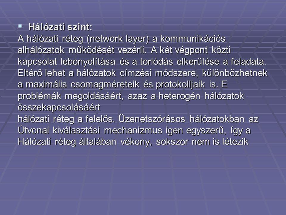 Hálózati szint: A hálózati réteg (network layer) a kommunikációs. alhálózatok működését vezérli. A két végpont közti.