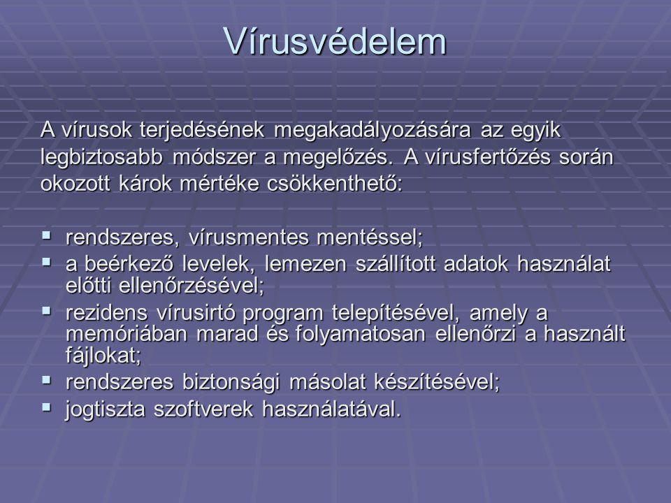 Vírusvédelem A vírusok terjedésének megakadályozására az egyik