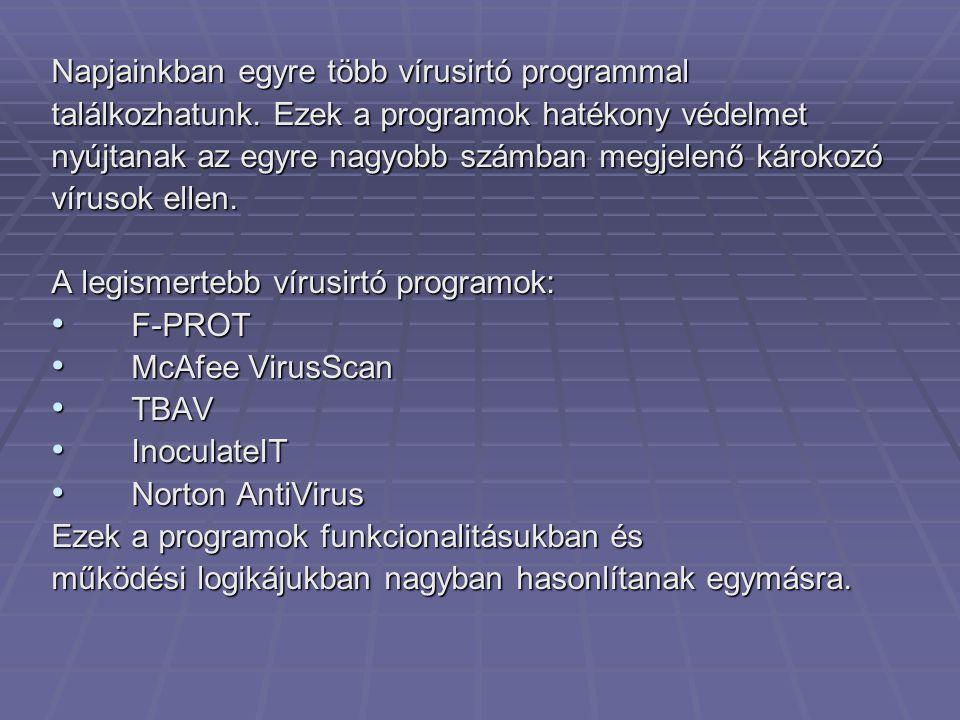 Napjainkban egyre több vírusirtó programmal