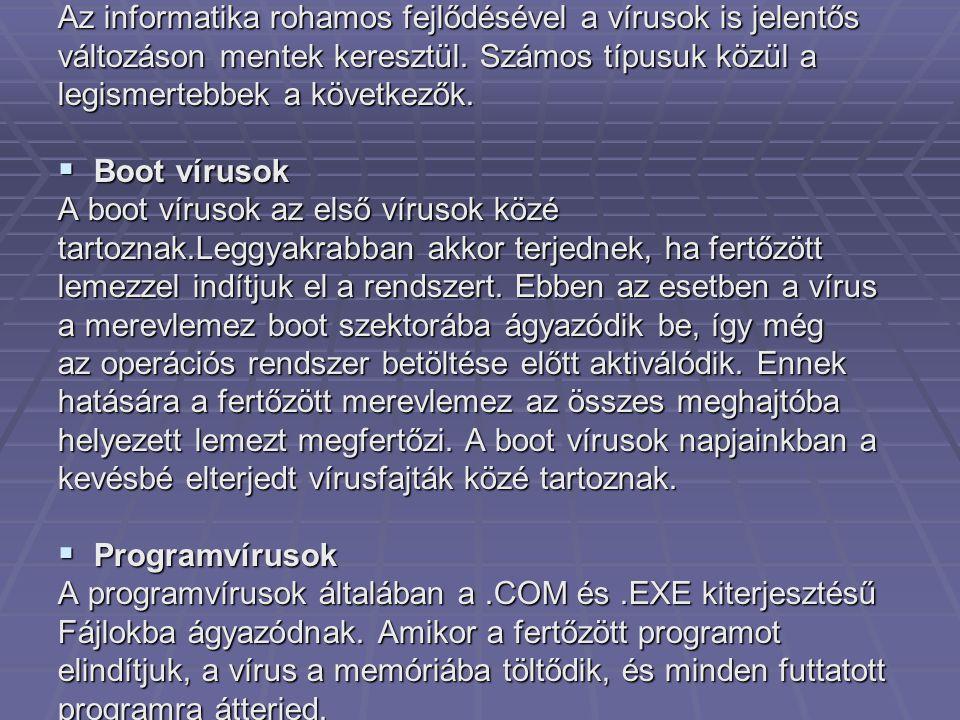 Az informatika rohamos fejlődésével a vírusok is jelentős