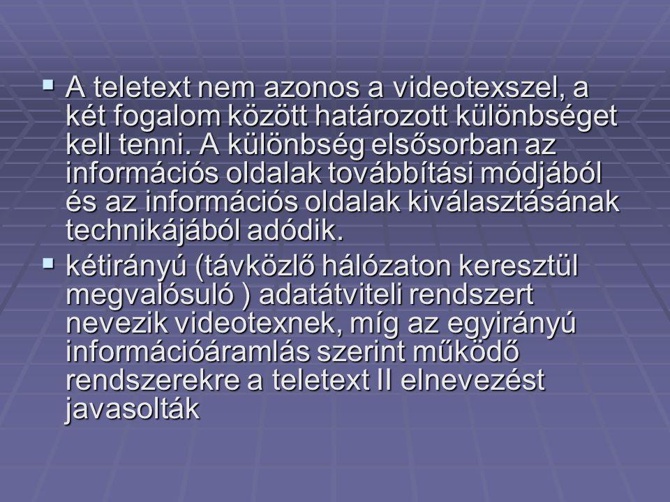A teletext nem azonos a videotexszel, a két fogalom között határozott különbséget kell tenni. A különbség elsősorban az információs oldalak továbbítási módjából és az információs oldalak kiválasztásának technikájából adódik.