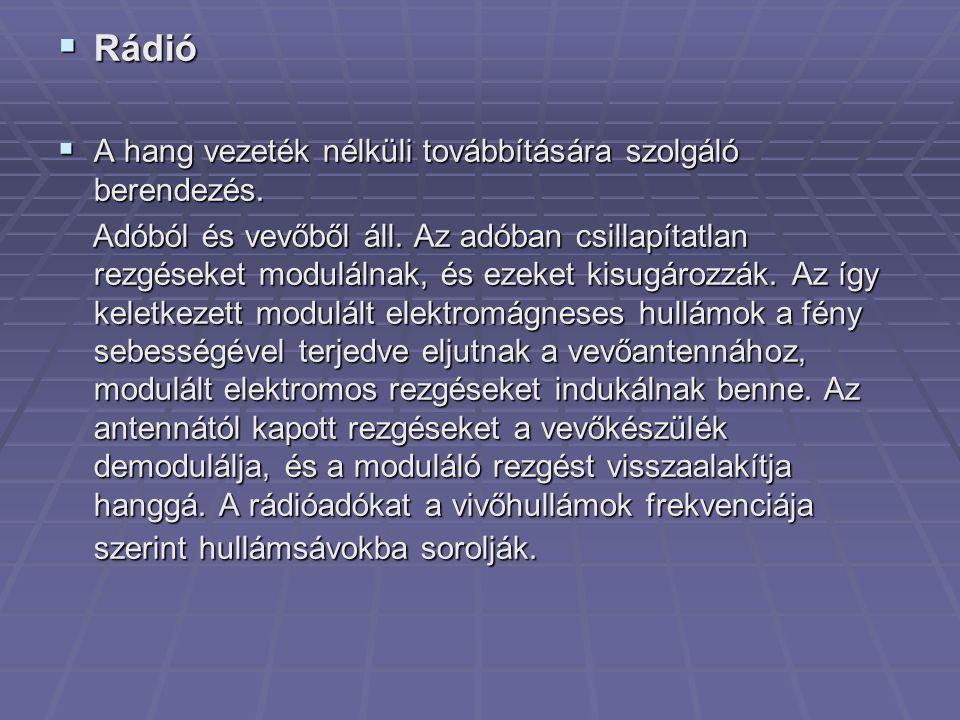 Rádió A hang vezeték nélküli továbbítására szolgáló berendezés.