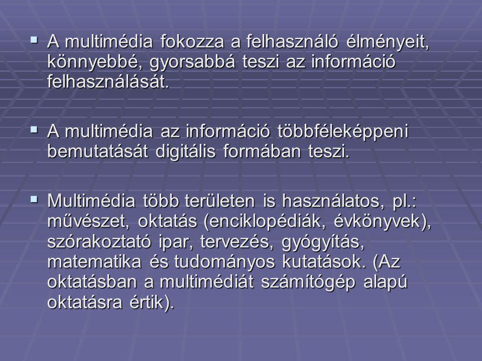 A multimédia fokozza a felhasználó élményeit, könnyebbé, gyorsabbá teszi az információ felhasználását.