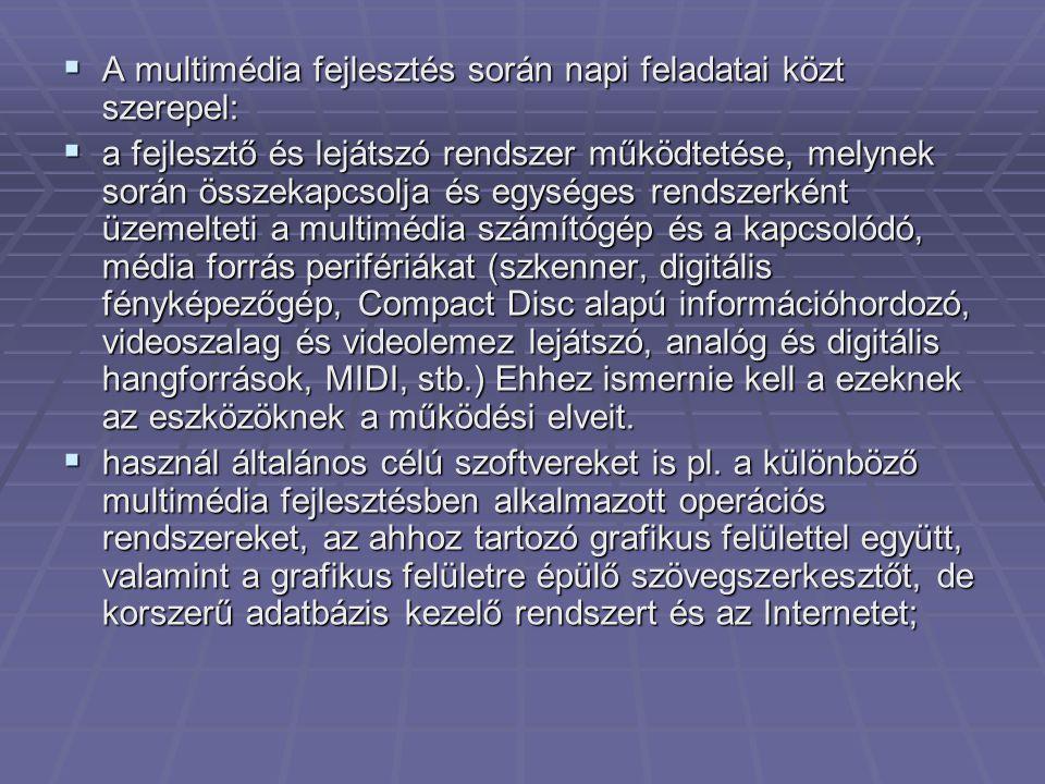 A multimédia fejlesztés során napi feladatai közt szerepel: