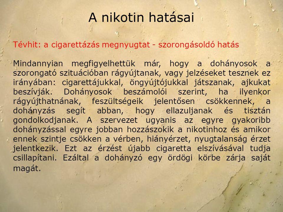 A nikotin hatásai Tévhit: a cigarettázás megnyugtat - szorongásoldó hatás.