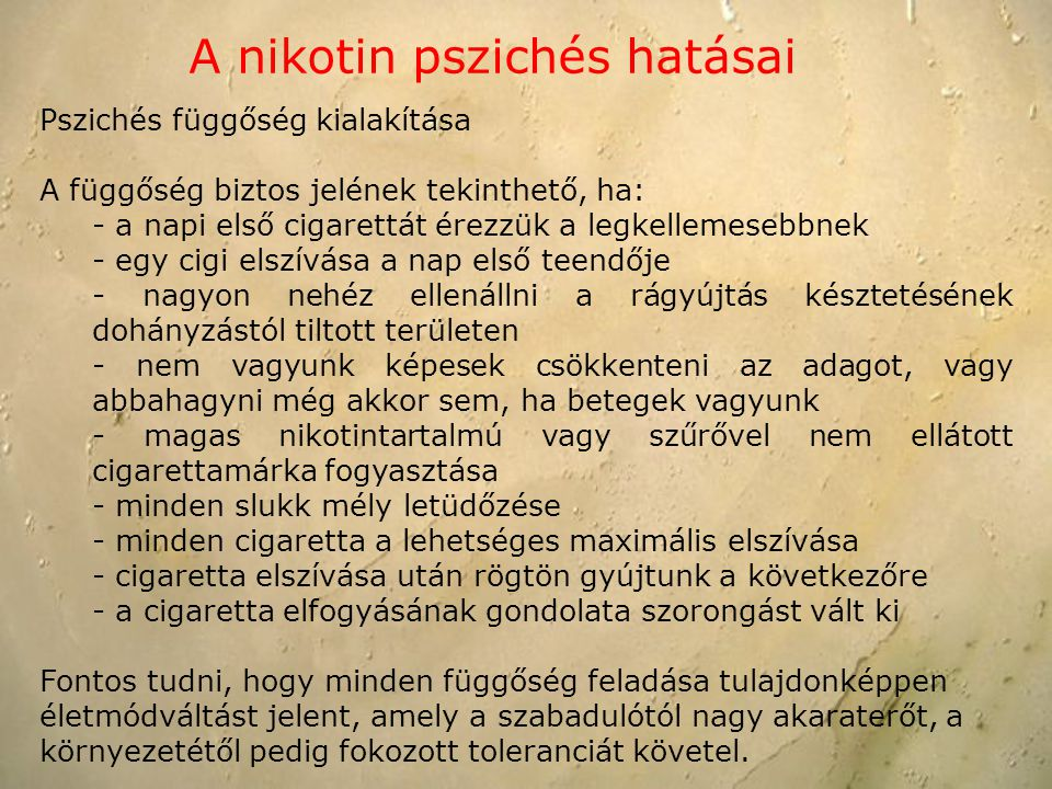 A nikotin pszichés hatásai