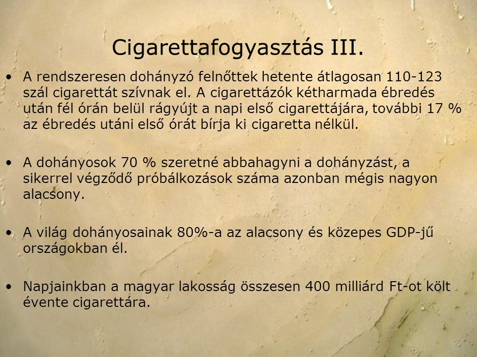 Cigarettafogyasztás III.