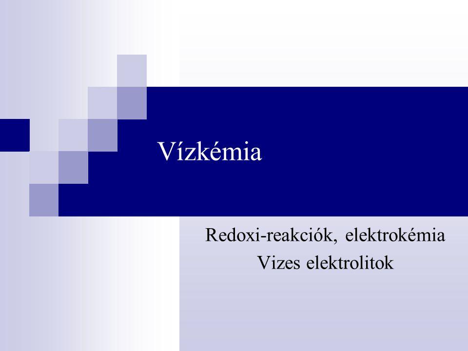 Redoxi-reakciók, elektrokémia Vizes elektrolitok