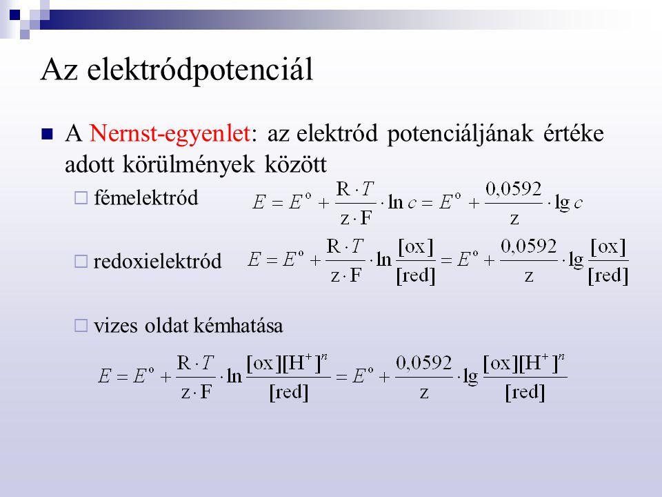 Az elektródpotenciál A Nernst-egyenlet: az elektród potenciáljának értéke adott körülmények között.