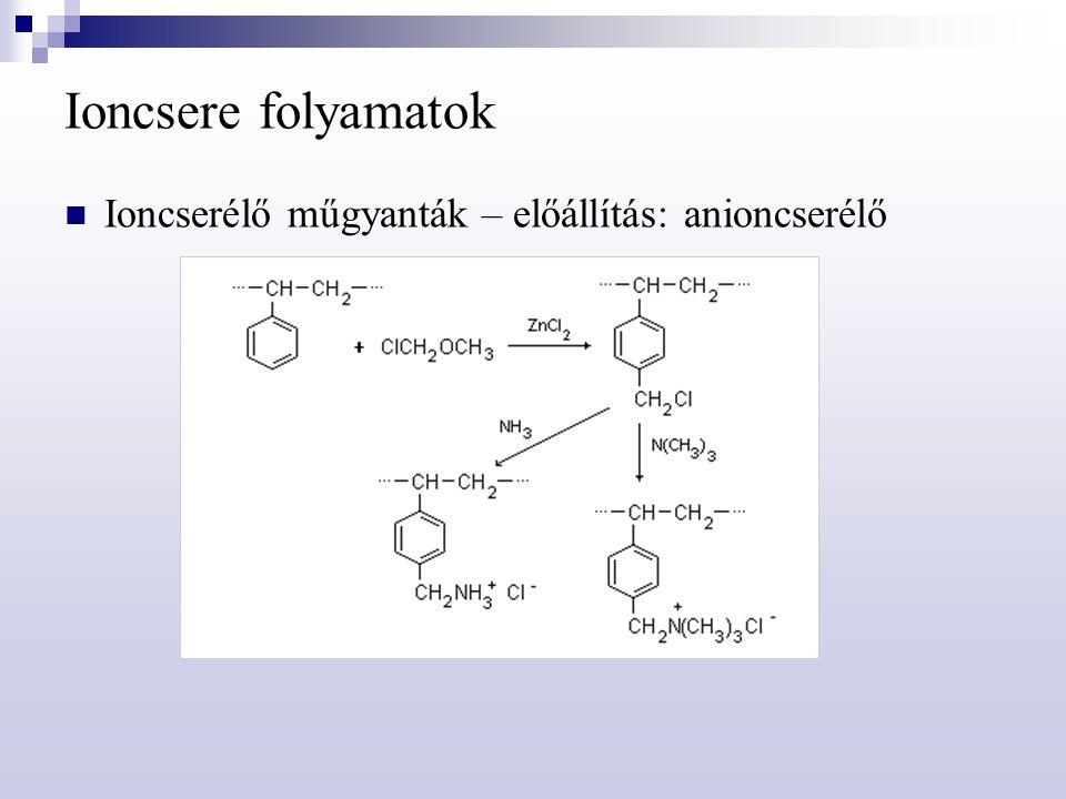 Ioncsere folyamatok Ioncserélő műgyanták – előállítás: anioncserélő