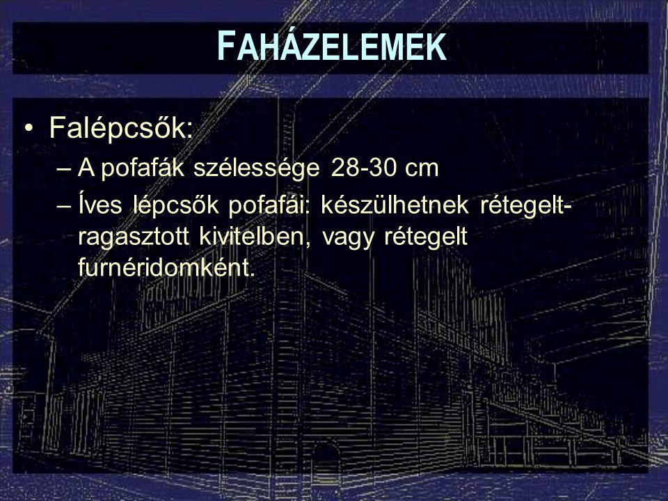 FAHÁZELEMEK Falépcsők: A pofafák szélessége 28-30 cm