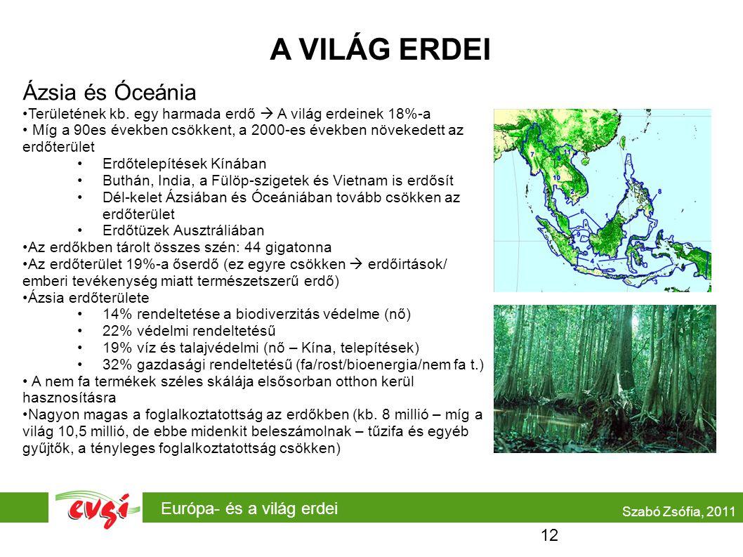 A VILÁG ERDEI Ázsia és Óceánia Európa- és a világ erdei 12