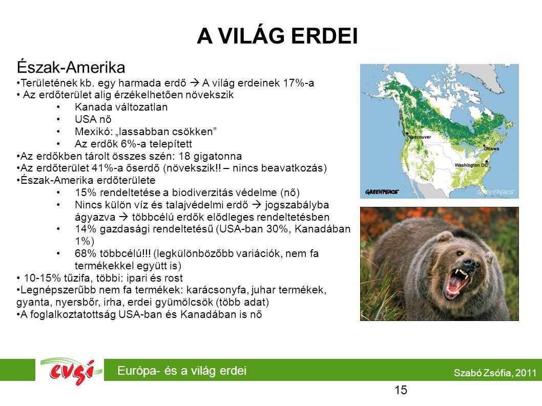 A VILÁG ERDEI Észak-Amerika Európa- és a világ erdei 15